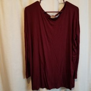 Bamboo cranberry 3/4 length sleeve super soft tee